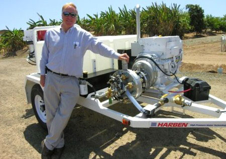 Gil Busick, Wastewater Supervisor at City of El Segundo, CA takes delivery of its new Harben E180 sewer jetter