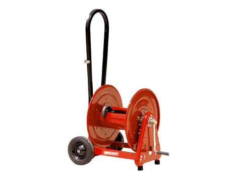 Side mounted transport cart for garden hose reel for jetting applications