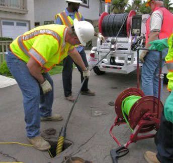 "A City of Carlsbad, CA wastewater operations crew clears a 4"" residential line with its Harben E180 Jetter"
